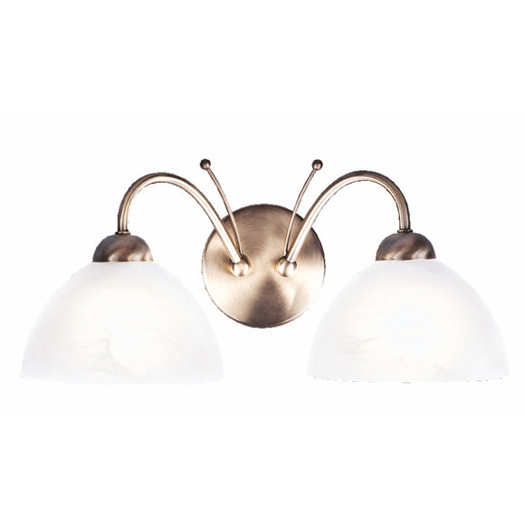 Searchlight 1132-2AB Milanese 2 Light Antique Brass Wall Light