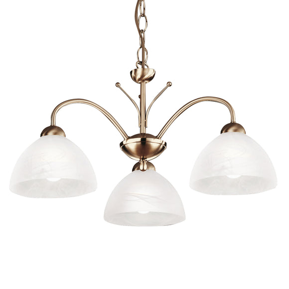 Searchlight 1133-3AB Milanese 3 Light Antique Brass Pendant Ceiling Light