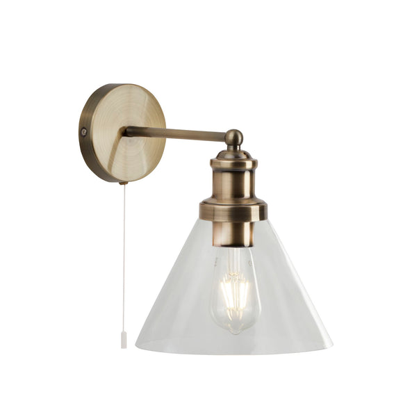 Searchlight 1277AB Pyramid 1 Light Antique Brass Wall Light (Switched)