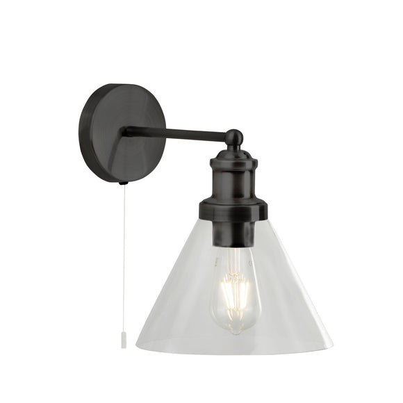 Searchlight 1277BK Pyramid 1 Light Black Wall Light (Switched)