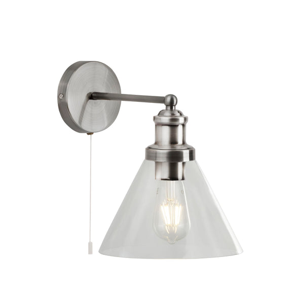 Searchlight 1277SS Pyramid 1 Light Satin Silver Wall Light (Switched)