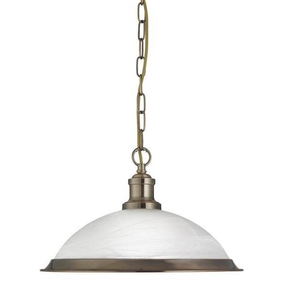 Searchlight 1591AB Bistro 1 Light Antique Brass Pendant Ceiling Light