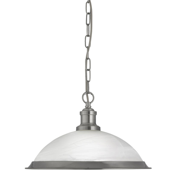 Searchlight 1591SS Bistro 1 Light Satin Silver Pendant Ceiling Light