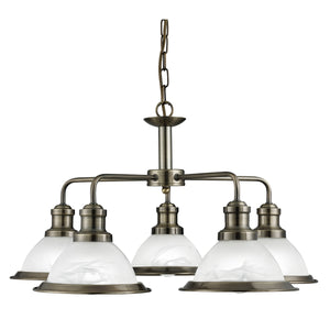 Searchlight 1595-5AB Bistro 5 Light Antique Brass Pendant Ceiling Light
