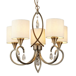 Searchlight 1605-5AB Alberto 5 Light Antique Brass Pendant Ceiling Light