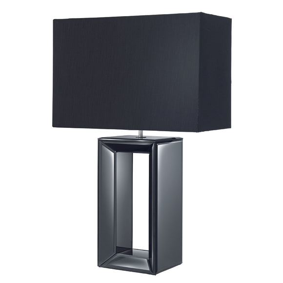 Searchlight 1610BK Black Mirror Table Lamp With Fabric Shade