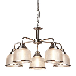 Searchlight 1685-5SS Bistro II 5 Light Satin Silver Pendant Ceiling Light