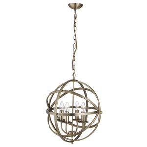 Searchlight 2474-4AB Orbit 4 Light Antique Brass Pendant Ceiling Light