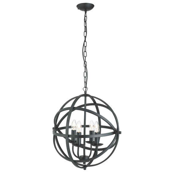 Searchlight 2474-4BK Orbit 4 Light Matt Black Pendant Ceiling Light