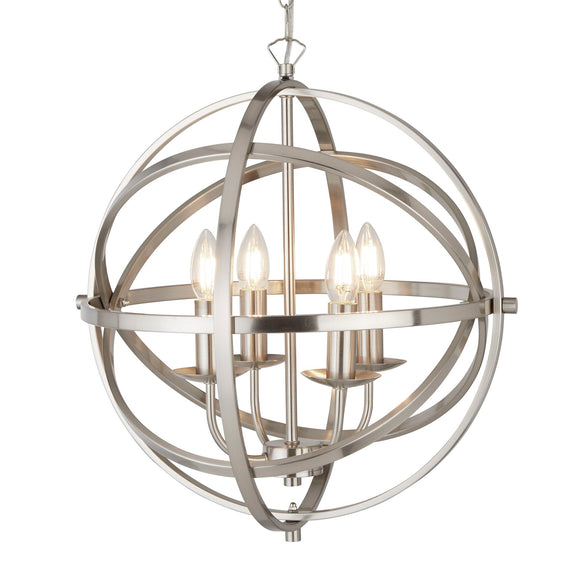 Searchlight 2474-4SS Orbit 4 Light Satin Silver Pendant Ceiling Light