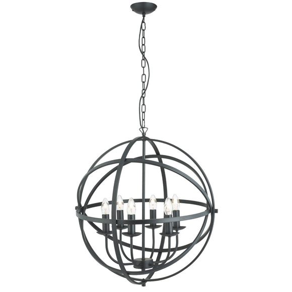 Searchlight 2476-6BK Orbit 6 Light Matt Black Pendant Ceiling Light