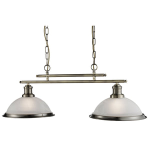 Searchlight 2682-2AB Bistro 2 Light Antique Brass Pendant Ceiling Light