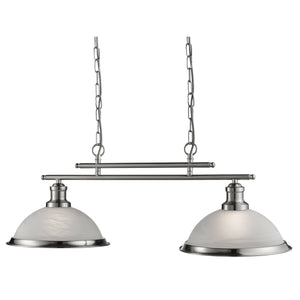 Searchlight 2682-2SS Bistro 2 Light Satin Silver Pendant Ceiling Light