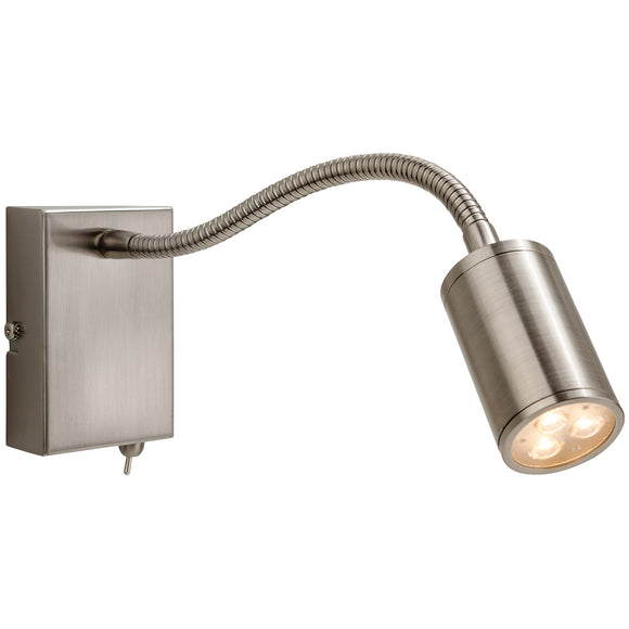 Firstlight 3454BS Orion LED 1 Light Brushed Steel Wall Light (Switched)