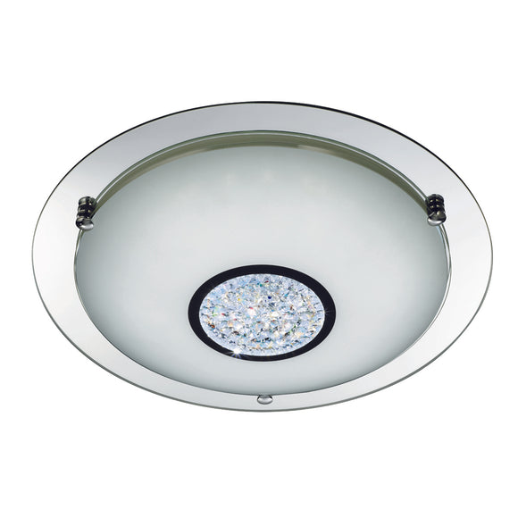 Searchlight 3883-31 1 Light Polished Chrome IP44 LED Flush Ceiling Light (Small)