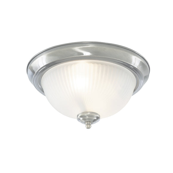 Searchlight 4042 American Diner 2 Light Satin Silver Flush Ceiling Light