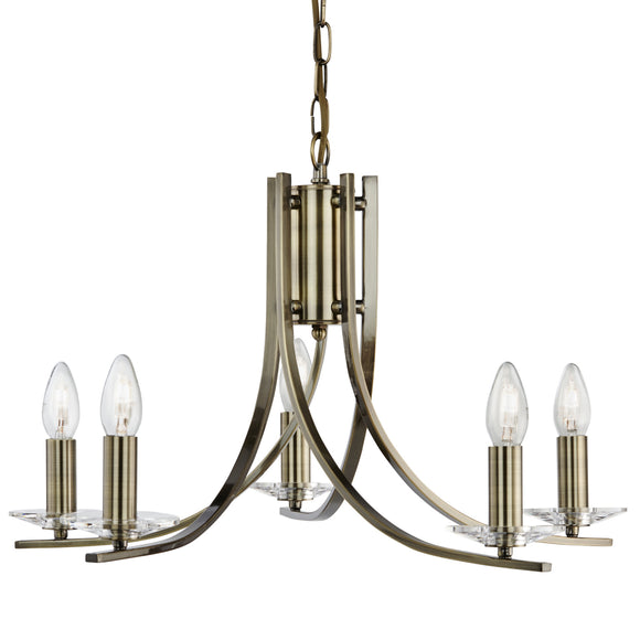 Searchlight 4165-5AB Ascona 5 Light Antique Brass Pendant Ceiling Light