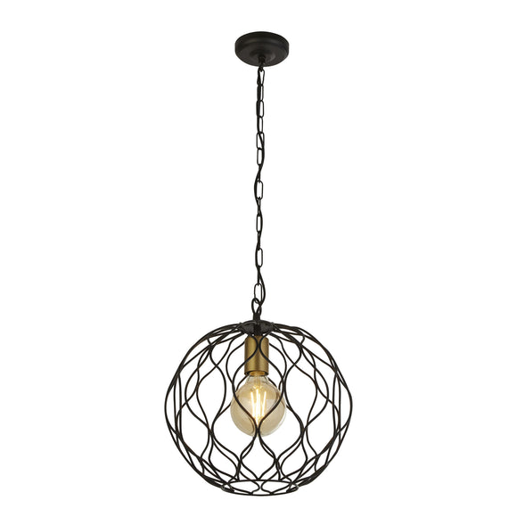 Searchlight 4511-1BK Finesse 1 Light Matt Black-Gold Pendant Ceiling Light