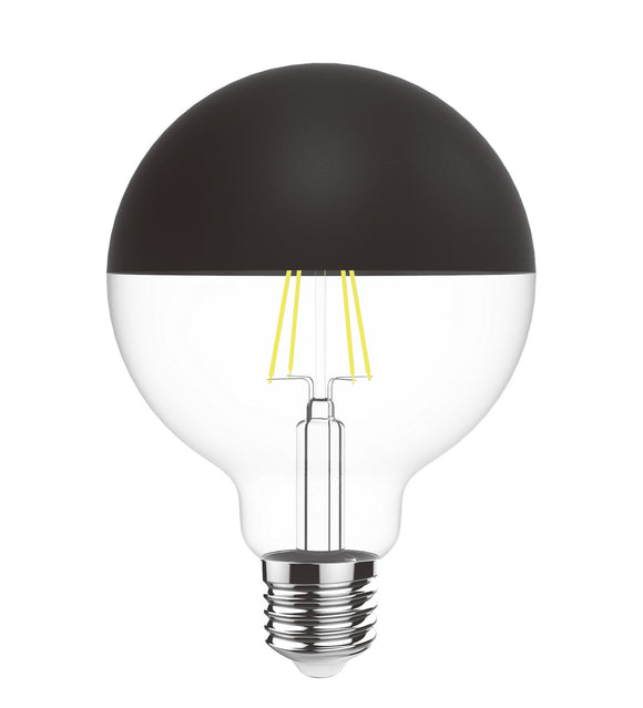 Luxram 4600182 Classic Style LED Black Top G80 E27 Dimmable 220-240V 4W 2700K, 330lm, Black/Clear Finish, 3yrs Warranty