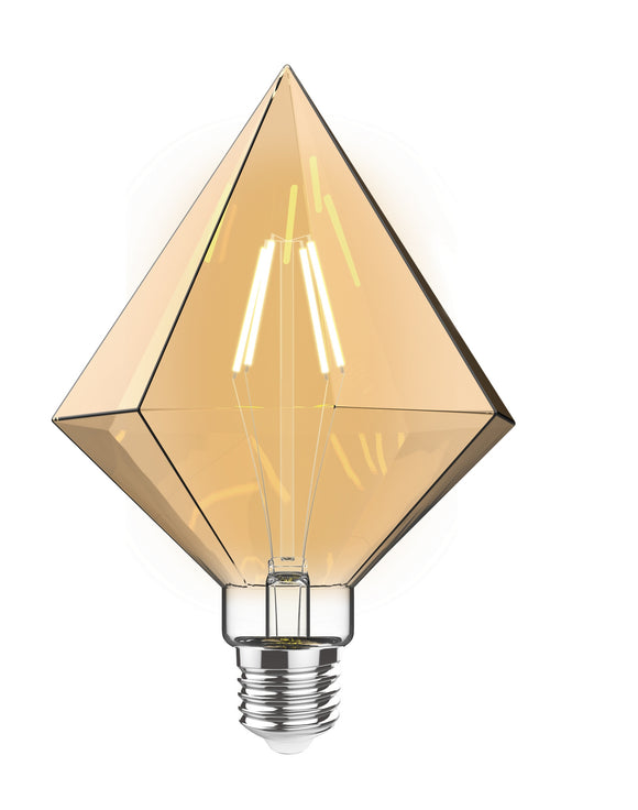 Luxram 4600292 Classic Style LED Tri-Diamond E27 Dimmable 220-240V 4W 2100K, 200lm, Amber Finish, 3yrs Warranty