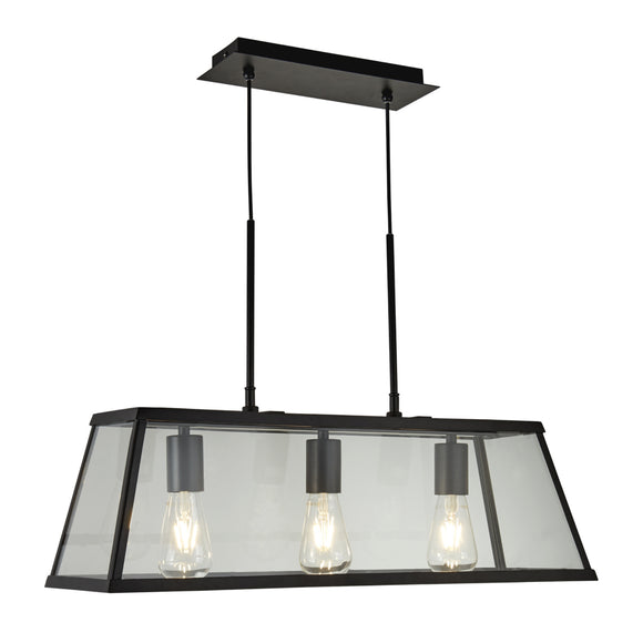 Searchlight 4613-3BK Voyager 3 Light Black Pendant Ceiling Light