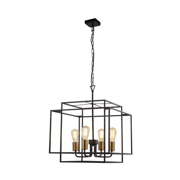 Searchlight 4634BK Crate 4 Light Matt Black-Gold Pendant Ceiling Light