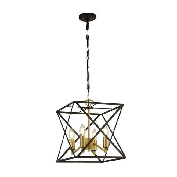 Searchlight 4784-4BK Hexa 4 Light Black-Gold Pendant Ceiling Light