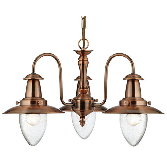 Searchlight 5333-3CU Fisherman 3 Light Copper Pendant Ceiling Light