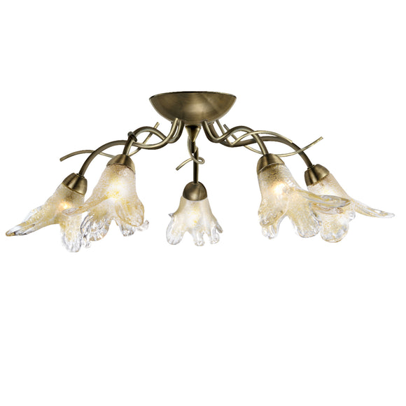Searchlight 5495-5AB Lily 5 Light Antique Brass Semi-Flush Ceiling Light