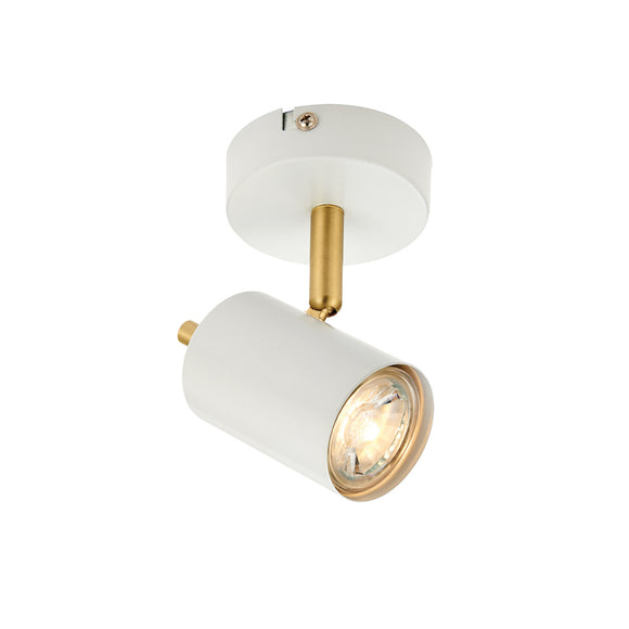 Endon Lighting 59931 Gull 1 Light Matt White & Brushed Brass Wall-Ceiling Spotlight