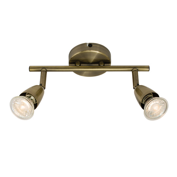 Saxby Lighting 60999 Amalfi 2 Light Antique Brass Wall-Ceiling Spotlight