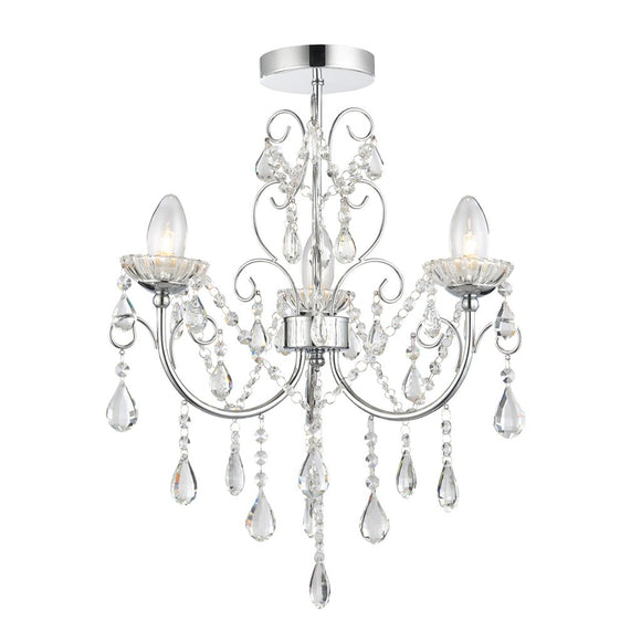 Endon Lighting 61251 Tabitha 3 Light Polished Chrome Semi Flush Ceiling Light