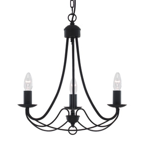 Searchlight 6343-3BK Maypole 3 Light Black Pendant Ceiling Light
