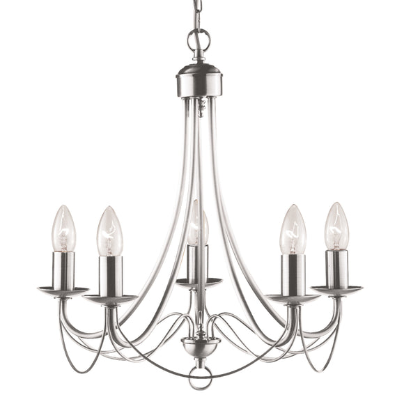 Searchlight 6345-5SS Maypole 5 Light Satin Silver Pendant Ceiling Light