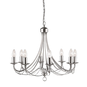 Searchlight 6348-8SS Maypole 8 Light Satin Silver Pendant Ceiling Light