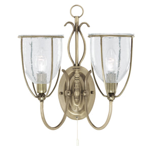 Searchlight 6352-2AB Silhouette 2 Light Antique Brass Wall Light