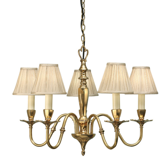 Interiors 1900 63794 Asquith 5 Light Solid Brass Pendant & Beige Shades