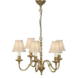 Interiors 1900 63815 Fitzroy 5 Light Solid Brass Pendant & Beige Shades