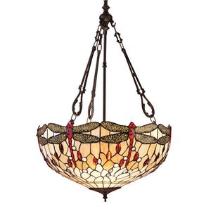 Interiors 1900 64073 Dragonfly Beige Large Inverted 3 Light Pendant