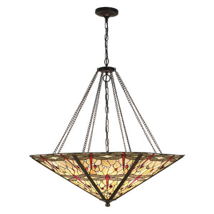 Interiors 1900 64077 Dragonfly Beige Mega Panel Inverted 8 Light Pendant