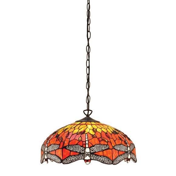 Interiors 1900 64081 Dragonfly Flame Medium 3 Light Pendant