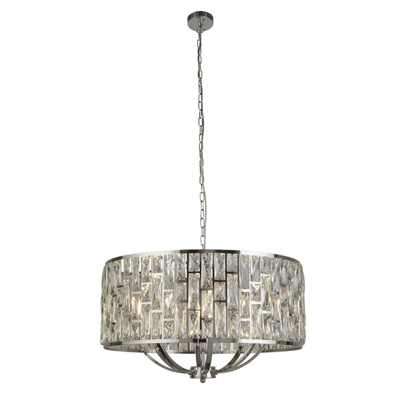 Searchlight 6588-8CC Bijou 5 Light Polished Chrome-Crystal Pendant Ceiling Light (Large)