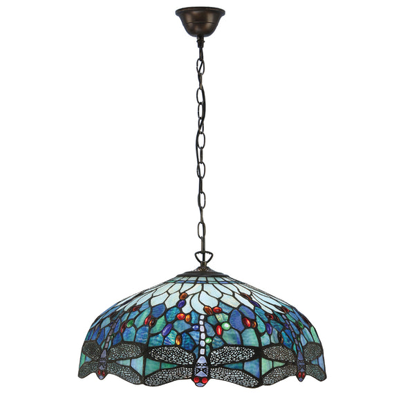 Interiors 1900 66148 Dragonfly Blue Large 3 Light Pendant