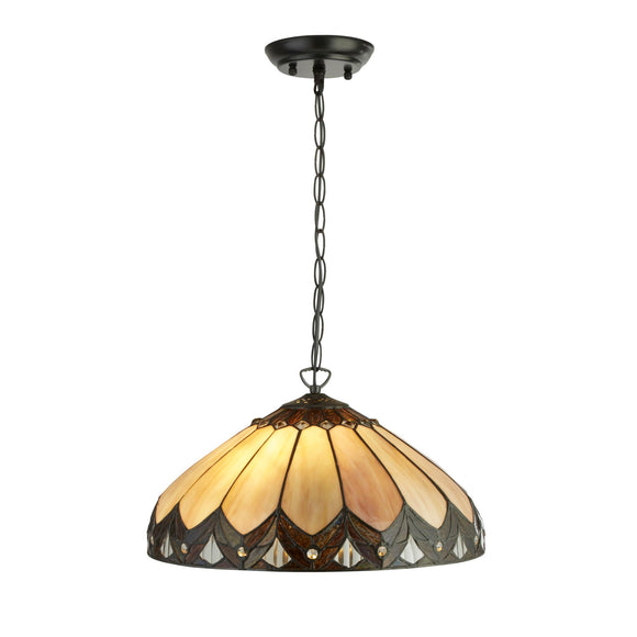 Searchlight 6702-40 Pearl 2 Light Tiffany Pendant Ceiling Light
