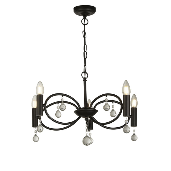 Searchlight 6785-5BK Infinity 5 Light Matt Black-Crystal Pendant Ceiling Light