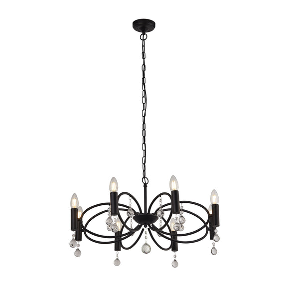 Searchlight 6788-8BK Infinity 8 Light Matt Black-Crystal Pendant Ceiling Light