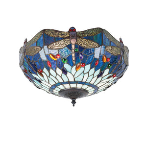 Interiors 1900 70722 Dragonfly Blue Medium 2 Light Flush