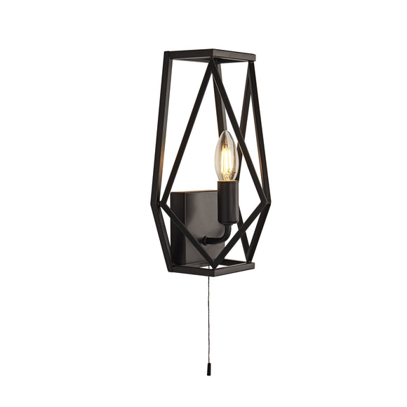 Searchlight 7330BK Chassis 1 Light Matt Black Wall Light (Switched)