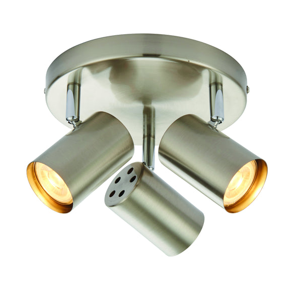 Saxby Lighting 73688 Arezzo 3 Light Satin Nickel Round Ceiling Spotlight