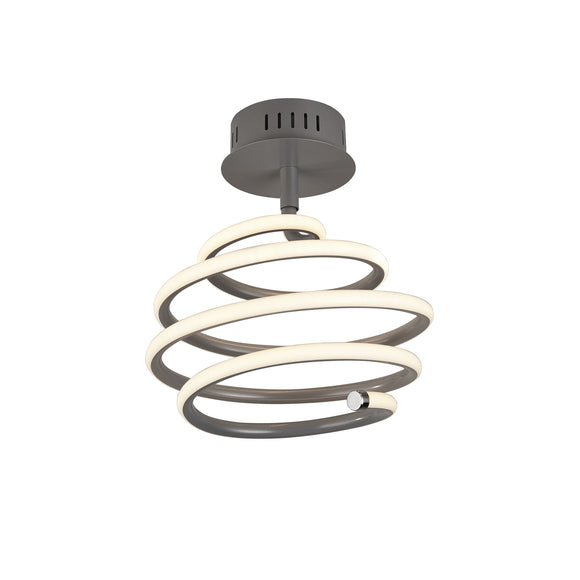 Searchlight 7457GY Swirl Painted Grey LED Semi Flush Ceiling Light